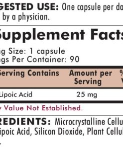 Alpha Lipoic Acid 25 mg Capsules - Hypo 90 ct - ingredients