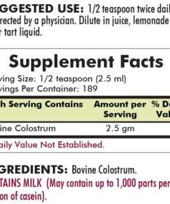 Colostrum Gold™ Liquid – Unflavored - Hypoallergenic - 16 oz - INGREDIENTS