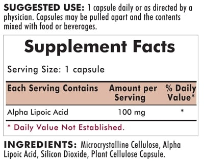 Alpha Lipoic Acid 100 mg - Hypoallergenic - 60 capsules - INGREDIENTS