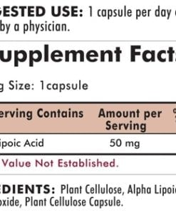 Alpha Lipoic Acid 50 mg - Hypoallergenic - 90 capsules - INGREDIENTS