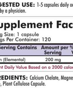 Calcium 200 mg without Vitamin D - Bio-Max Series - Hypoallergenic - 120 capsules - INGREDIENTS