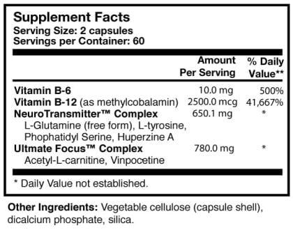 Cognicare - 120 capsules - INGREDIENTS