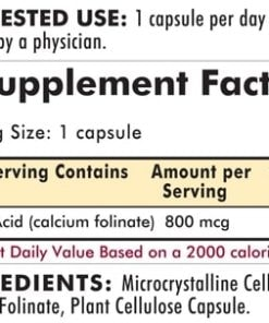 Folinic Acid 800 mcg - Hypoallergenic - 180 capsules - INGREDIENTS