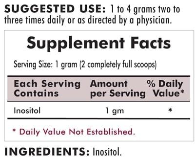 Inositol Pure Soluble Powder - Hypoallergenic - 454 grams - 16oz - INGREDIENTS