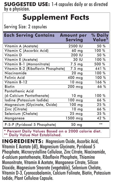 Nu-Thera® with 50 mg P-5-P - Hypoallergenic - 300 capsules - INGREDIENTS