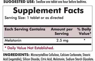 Slo-Release Melatonin 2.5 mg - 120 tablets - INGREDIENTS