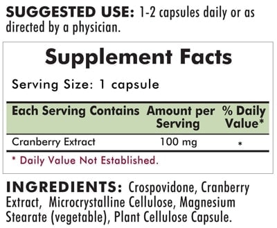 Super Cranberry Extract 100 mg  - 100 Hypoallergenic capsules - INGREDIENTS