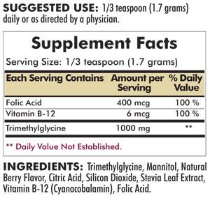 TMG (Trimethylglycine) with Folic Acid & B-12 Powder - 227 grams - 8 oz - INGREDIENTS