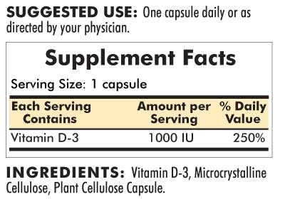 Vitamin D-3 1000 IU - Hypoallergenic - 120 capsules - INGREDIENTS