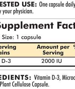 Vitamin D-3 2000 IU - Hypoallergenic - 120 capsules - INGREDIENTS