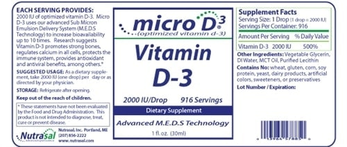 Micro D-3 Vitamin D-3 - 1oz - INGREDIENTS