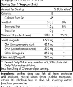 Omega-3D™ Liquid - 8 oz (Lemon) - INGREDIENTS
