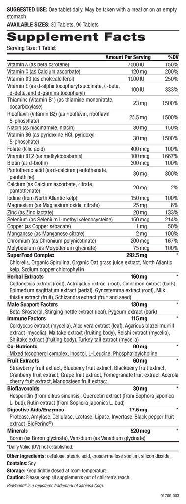 One 'n' Only Men - 90 tablets - ingredients